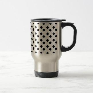 Negro en el diseño blanco del diamante taza de viaje