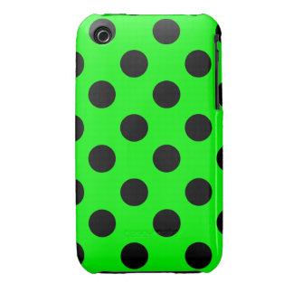 Negro en el diseño verde de neón del lunar iPhone 3 carcasas