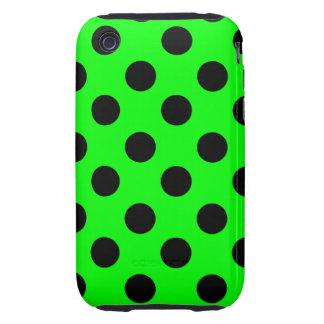 Negro en el diseño verde de neón del lunar iPhone 3 tough carcasa