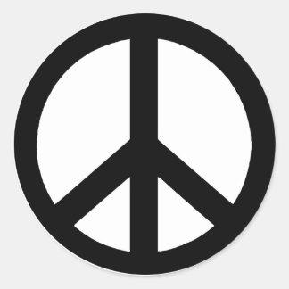 Negro en el signo de la paz blanco pegatina redonda