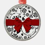 Negro en estampado de plores de la margarita blanc adornos de navidad