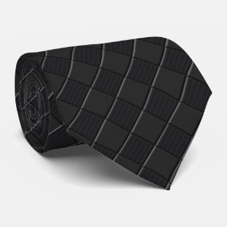 Negro en estilo de cuero a cuadros negro de la corbata personalizada