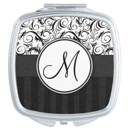 Negro en las briznas, las rayas y el monograma flo espejos compactos