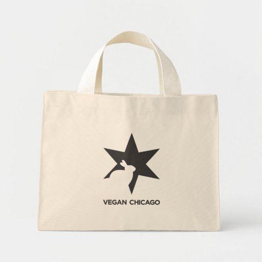 Negro estándar y blanco de Chicago del vegano en b Bolsa De Tela Pequeña