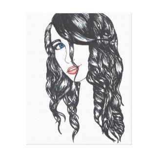 """Negro estirado chica de la lona del Sharpie (24"""" x Impresiones En Lona Estiradas"""