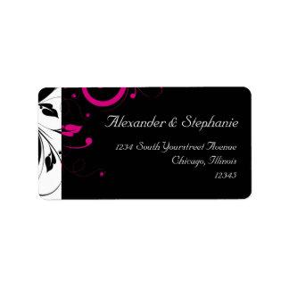 Negro +Etiqueta blanca del boda del remolino del r Etiquetas De Dirección