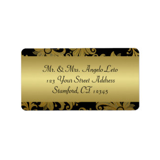Negro etiqueta floral del remite del oro etiquetas de dirección