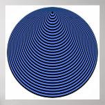 Negro excesivo azul de los círculos concéntricos d impresiones