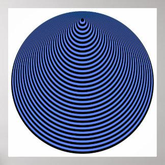 Negro excesivo azul de los círculos concéntricos d póster