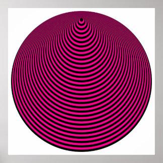 Negro excesivo púrpura de los círculos concéntrico póster