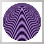 Negro excesivo violeta de los círculos concéntrico poster