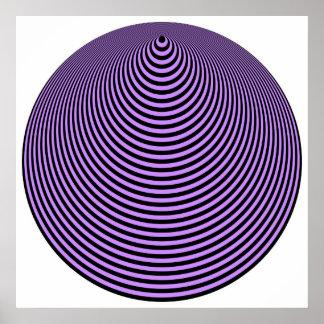 Negro excesivo violeta de los círculos concéntrico póster
