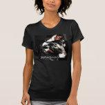 Negro falso del doble T/gato/vaca grises de Jen Camisetas