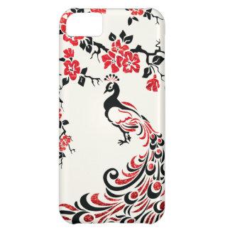Negro, falso pavo real rojo de la hoja y flores de funda para iPhone 5C