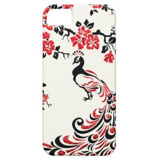 Negro, falso pavo real rojo de la hoja y flores de funda para iPhone SE/5/5s