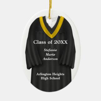 Negro femenino del vestido del graduado y adorno navideño ovalado de cerámica