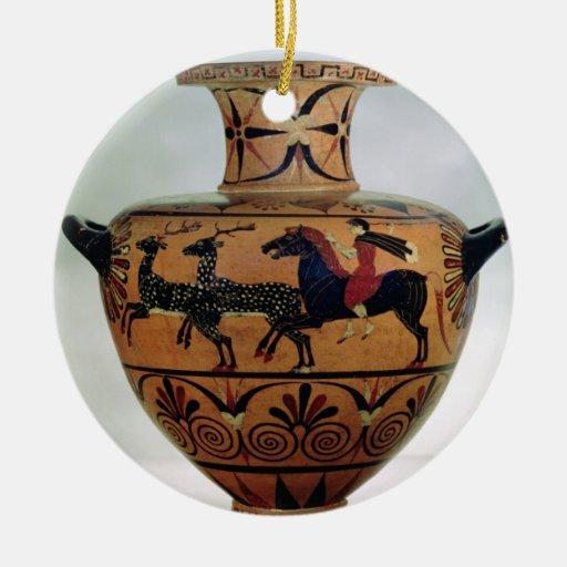 Negro-figura Etrusco-Jónica hydria que representa Adorno Navideño Redondo De Cerámica