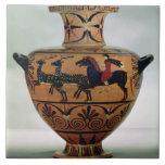 Negro-figura Etrusco-Jónica hydria que representa  Azulejo Cuadrado Grande
