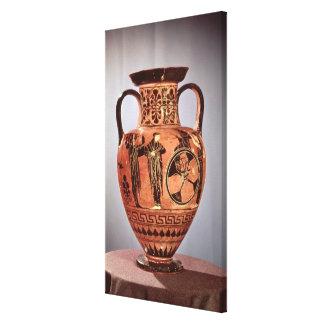 Negro-figura griega amphora impresión en lona estirada