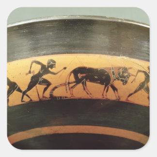Negro-figura taza del ático pegatina cuadrada