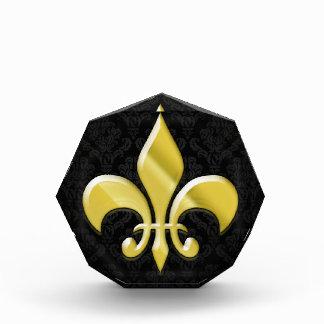 Negro/flor de lis del damasco del oro