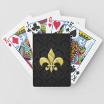 Negro/flor de lis del damasco del oro baraja cartas de poker