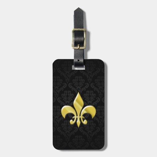 Negro/flor de lis del damasco del oro etiqueta para equipaje