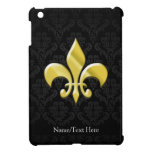 Negro/flor de lis del damasco del oro iPad mini fundas