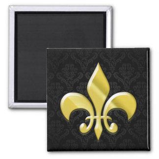 Negro/flor de lis del damasco del oro imán cuadrado