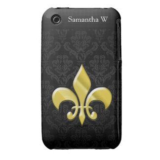 Negro/flor de lis del damasco del oro iPhone 3 Case-Mate coberturas