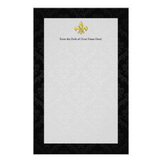 Negro/flor de lis del damasco del oro papeleria
