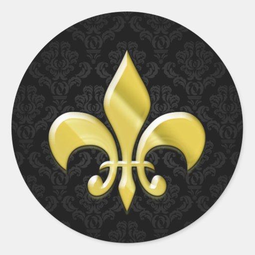Negro/flor de lis del damasco del oro pegatina redonda