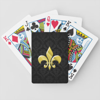 Negro flor de lis del damasco del oro baraja cartas de poker
