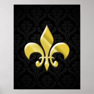 Negro/flor de lis del damasco del oro póster