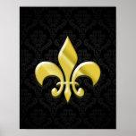 Negro/flor de lis del damasco del oro posters