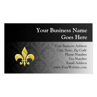 Negro flor de lis del damasco del oro tarjetas de visita