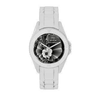 Negro + - Flor - reloj adaptable blanco
