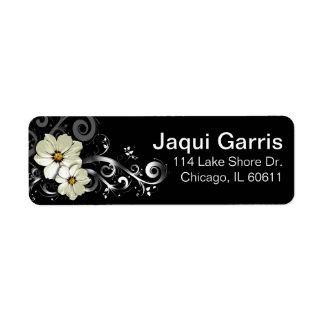 Negro floral adornado del Flourish el | Etiqueta De Remite