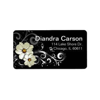 Negro floral adornado del Flourish el | Etiquetas De Dirección