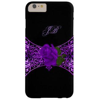 Negro floral color de rosa púrpura 2 del cordón funda de iPhone 6 plus barely there
