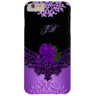 Negro floral color de rosa púrpura del cordón funda barely there iPhone 6 plus