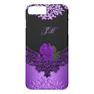 Negro floral color de rosa púrpura del cordón funda iPhone 7 plus