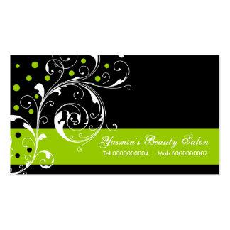 Negro floral de la hoja de la voluta del salón de tarjetas de visita