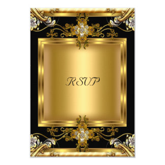 """Negro floral de la joya del oro elegante del invitación 3.5"""" x 5"""""""