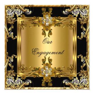 """Negro floral de la joya del oro elegante del invitación 5.25"""" x 5.25"""""""