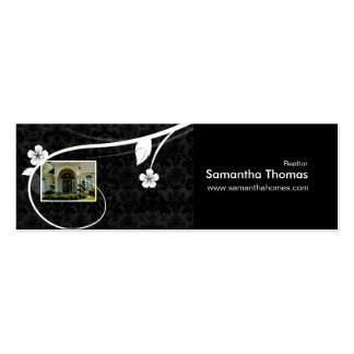 Negro floral de la señal del damasco del hogar de plantillas de tarjeta de negocio