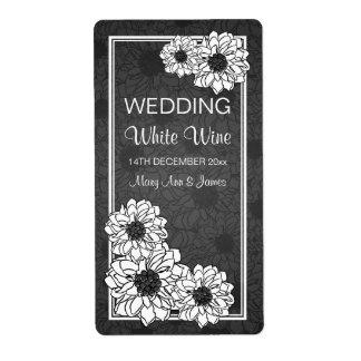 Negro floral del boda del vino de la dalia etiqueta de envío