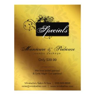 "Negro floral del oro del balneario del salón del a folleto 8.5"" x 11"""