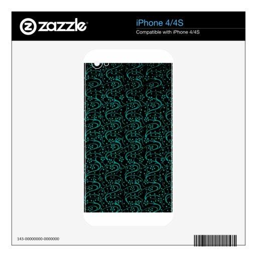 Negro floral del trullo del vintage retro iPhone 4S calcomanía