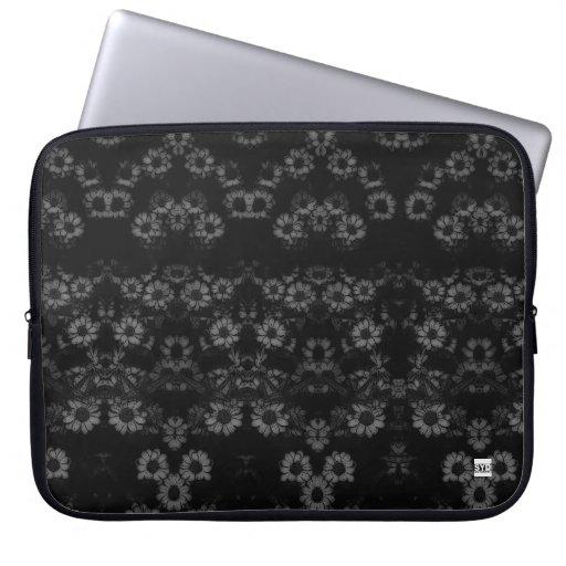 Negro floral del vintage manga del ordenador portá funda ordendadores